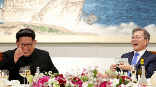 North Korea's leader Kim Jong Un and South Korea's President Moon Jae-in at the Inter-Korean Summit 2018 on April 27, 2018.
