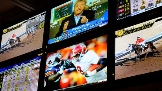 NFL playoff games joins horse racing in being legalized for wagering in the state of Delaware and gamblers took advantage of it at Delaware Park in Wilmington.