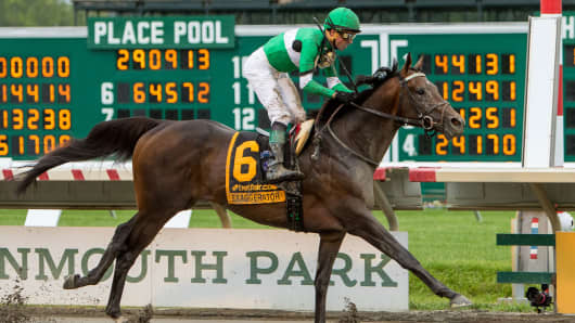 Exaggerator #6, ridden by Kent J. Desormeaux, wins the betfair.com Haskell Invitational Stakes at Monmouth Park on July 31, 2016 in Oceanport, New Jersey.