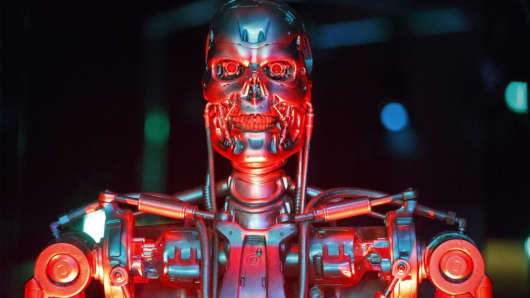 Original robot used in filming 'Terminator Salvation' is seen at the Science Museum in London on February 7, 2017.