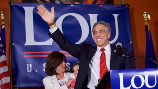 Congressman Lou Barletta (R - Pa.) waves to supporters after his victory in the 2018 Pennsylvania Primary Election.