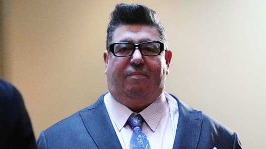 British publicist Rob Goldstone arrives at a closed door meeting with House Intelligence Committee December 18, 2017 on Capitol Hill in Washington, DC.
