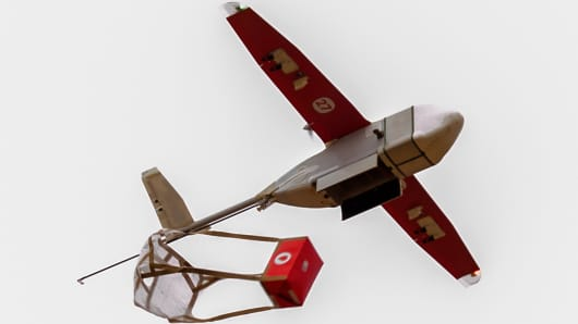 A Zipline drone delivers blood to a remote hospital in Rwanda.