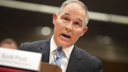 EPA Administrator Scott Pruitt testifies before a Senate Appropriations Interior, Environment, and Related Agencies Subcommittee hearing on the proposed budget estimates and justification for FY2019 for the Environmental Protection Agency on Capitol Hill in Washington, May 16, 2018