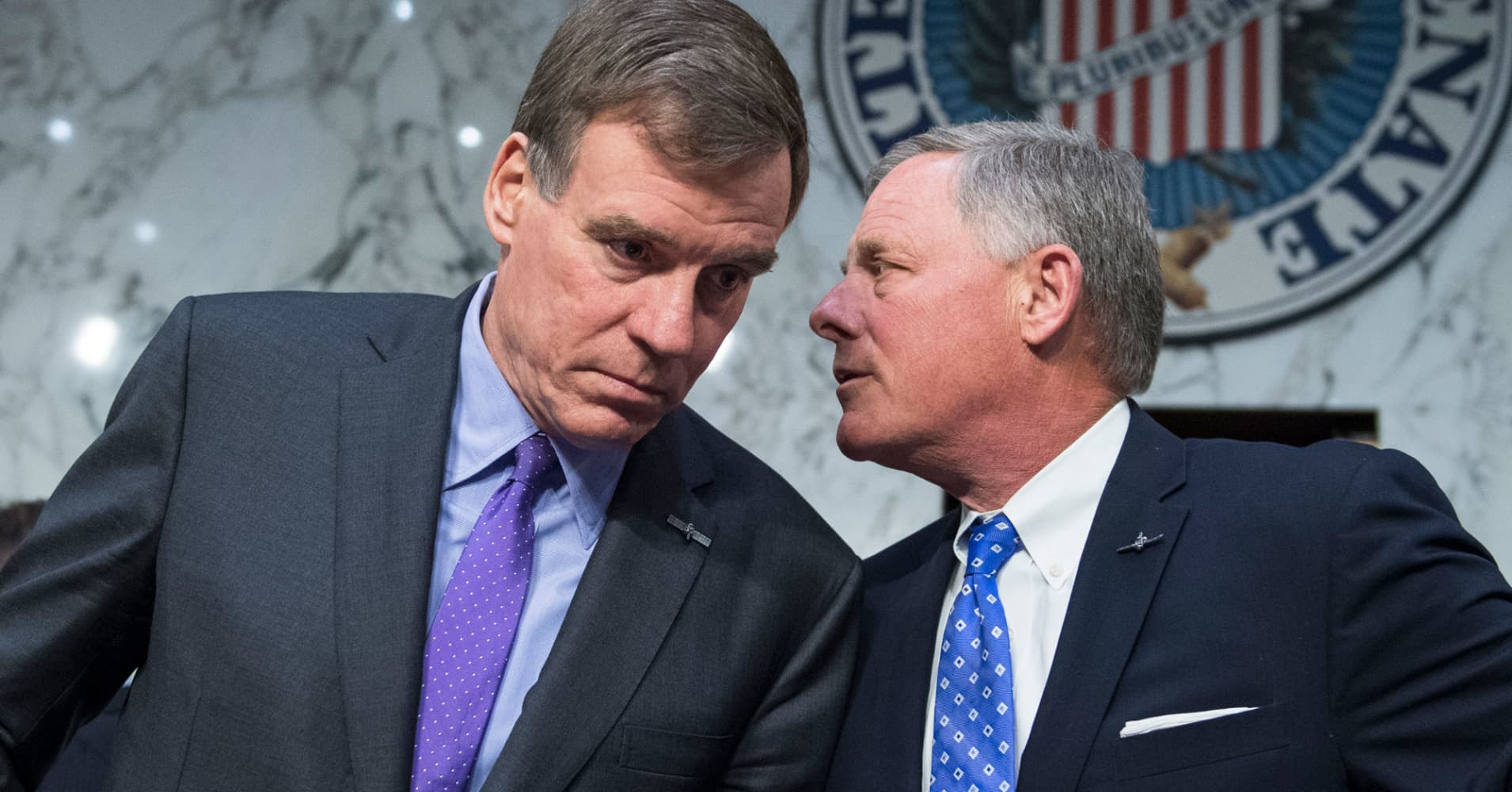 Chairman Richard Burr, R-N.C., right, and ranking member Sen. Mark Warner, D-Va. of the Senate (Select) Intelligence Committee.