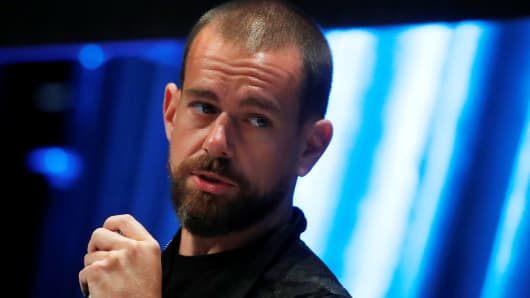 Jack Dorsey, CEO and co-founder of Twitter and founder and CEO of Square, speaks at the Consensus 2018 blockchain technology conference in New York City, New York.