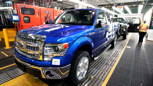 A Ford F-150 on the assembly line at the Ford Dearborn Truck Plant