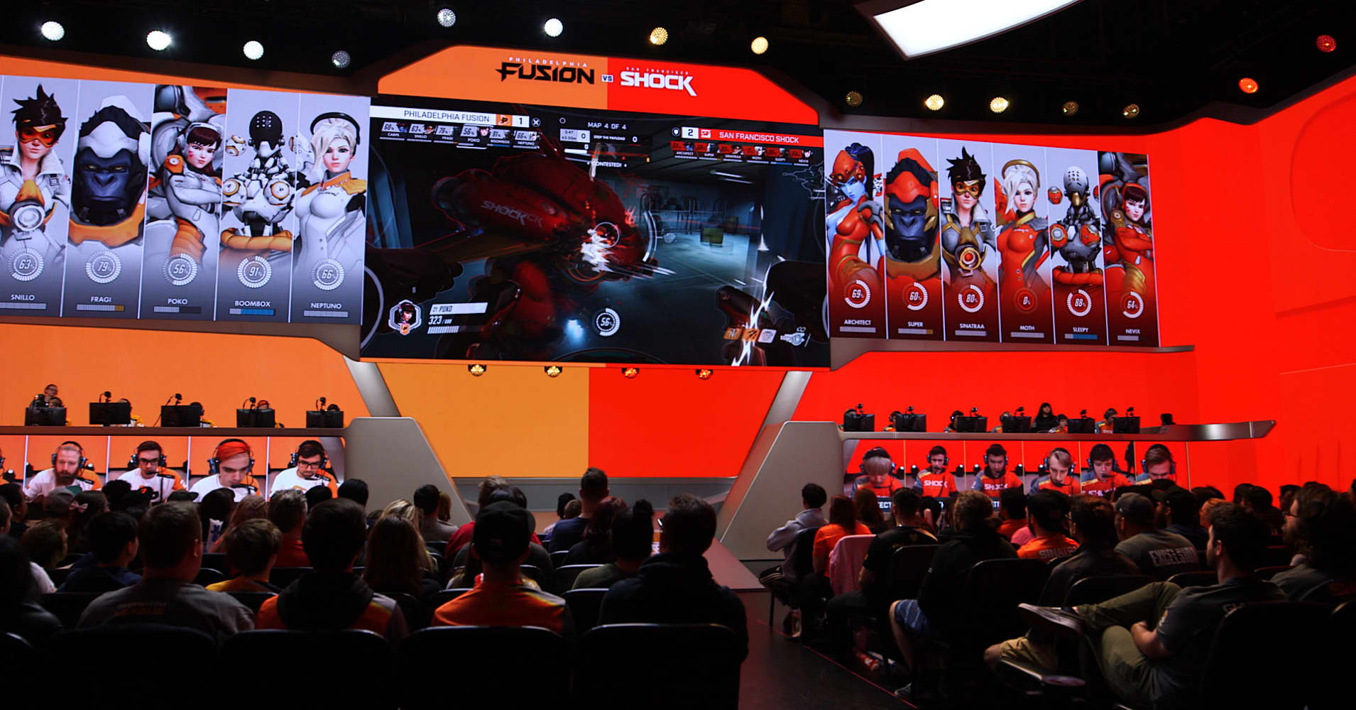 Players in the Overwatch League compete in an arena at The Burbank Studios.