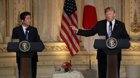 U.S. President Donald Trump and Japanese Prime Minister Shinzo Abe at Mar-a-Lago resort on April 18, 2018.