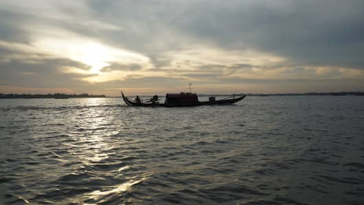 The Mekong is the world's 12th longest river and runs some 2,700 miles from the Tibet plateau in the north through China, Myanmar, Laos, Cambodia spilling through the delta of South Vietnam into the South China Sea.