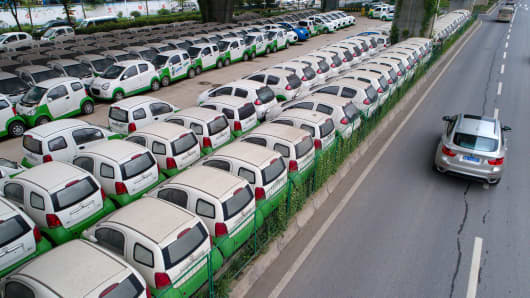 A view of electric cars owned by a local car-sharing company in Wuhan, China.