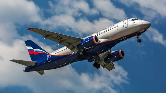 Sukhoi Superjet 100 plane of Russia's Aeroflot Airline Company.