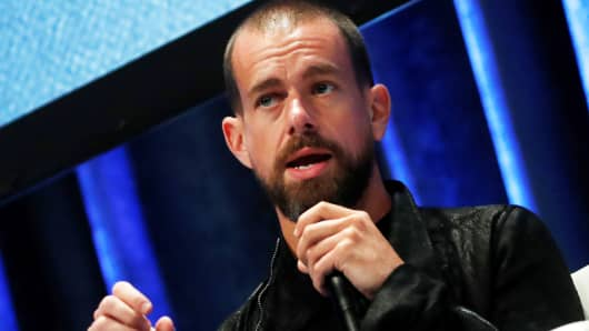 Jack Dorsey, CEO and co-founder of Twitter and founder and CEO of Square, speaks at the Consensus 2018 blockchain technology conference in New York City, May 16, 2018.