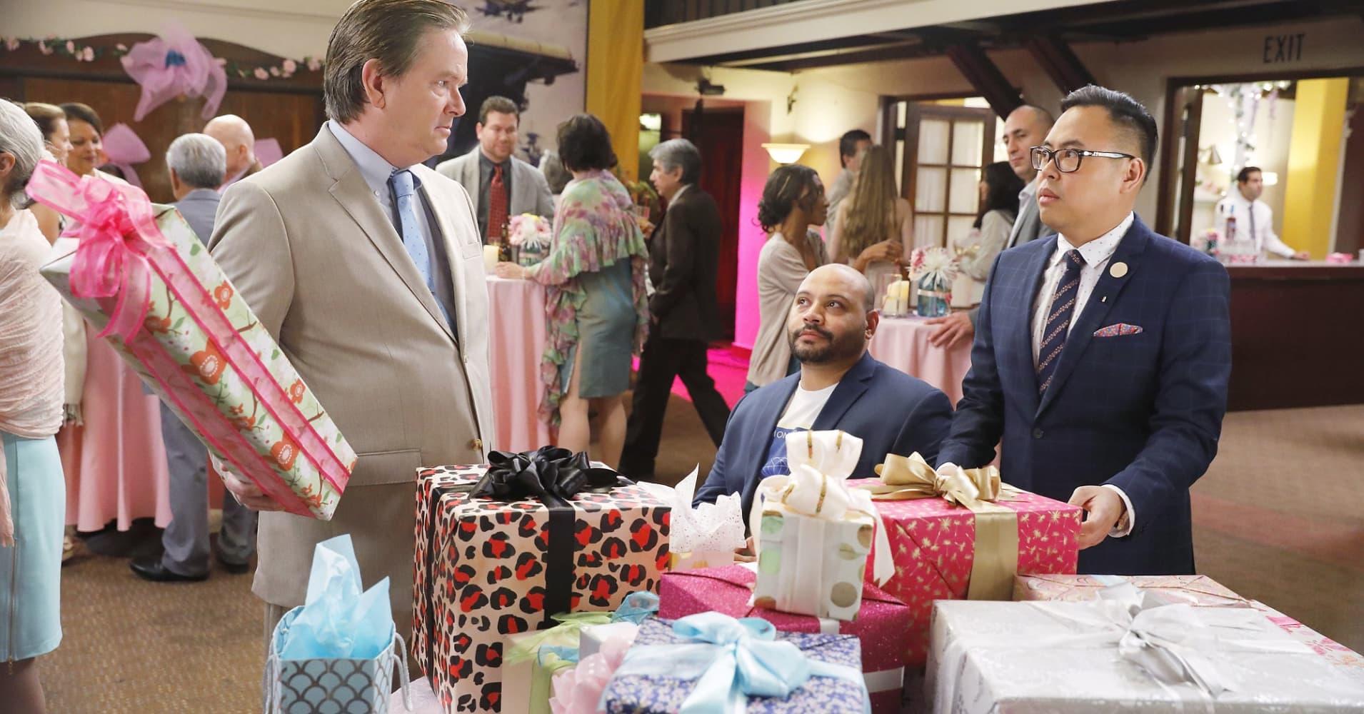 "Mark McKinney as Glenn, Colton Dunn as Garrett, Nico Santos as Mateo on NBC's ""Superstore."""