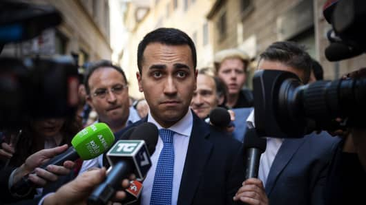 Luigi Di Maio, Leader of 5-Star Movement (M5S) leaves the parliament after a new day of meetings for the formation of the new government on April 26, 2018 in Rome, Italy.