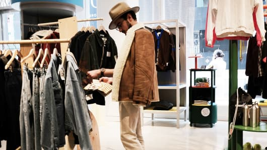 A man shops at the Nordstrom men's store, the company's first-ever Manhattan location last April.