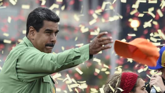 Venezuelan President and presidential candidate Nicolas Maduro attends the closing rally of his campaign ahead of the weekend's presidential election, in Caracas, on May 17, 2018.