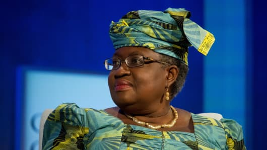 Ngozi Okonjo-Iweala, former finance minister of Nigeria, during a panel discussion at the annual meeting of the Clinton Global Initiative in New York, U.S., on September 19, 2016.