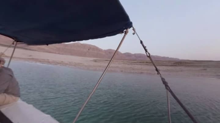 Floating in the dead sea .. but you can see the pixels