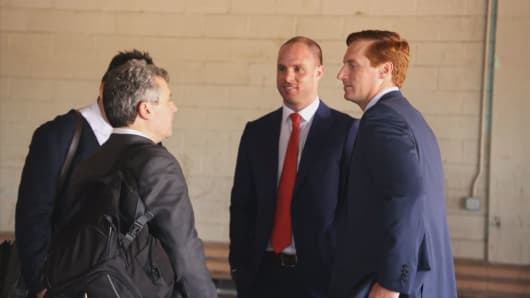 John O'Rourke (right) CEO of Riot Blockchain after a shareholders meeting in Oklahoma City on May 9, 2018.