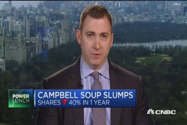 Campbell soup slumps, shares are down 40%