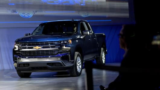 General Motors Co. (GM) 2019 Chevrolet Silverado pickup truck sits on display.