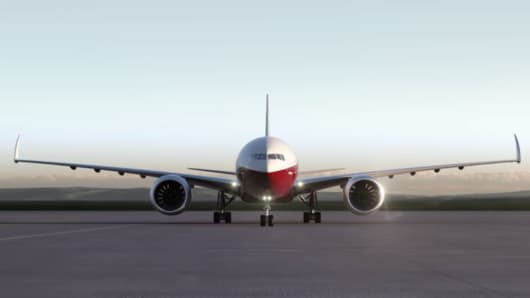 Boeing 777X folding wingtips.