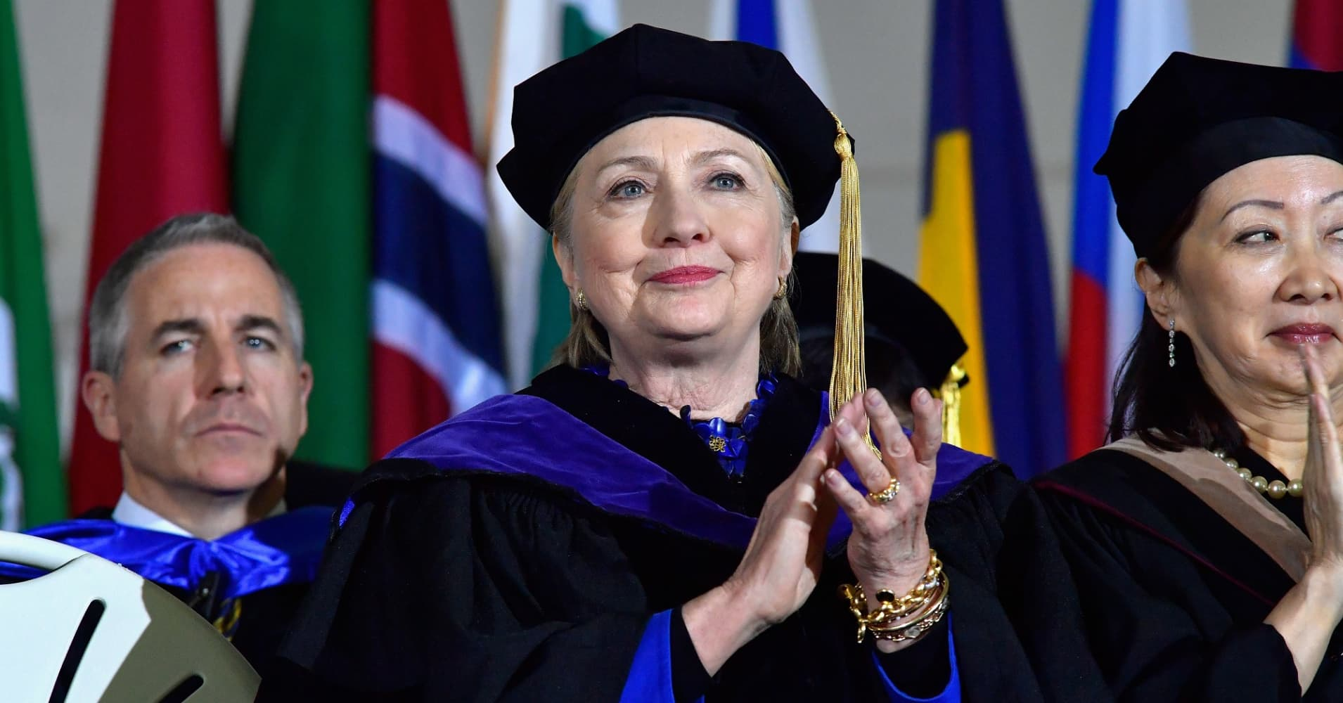 Hillary Clinton gave the Commencement Address at the Wellesley College 2017 166th Commencement Exercises at Wellesley College on May 26, 2017 in Boston, Massachusetts