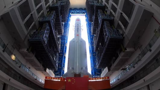 A communication satellite at the Wenchang Space Launch Center in China on June 26, 2017.
