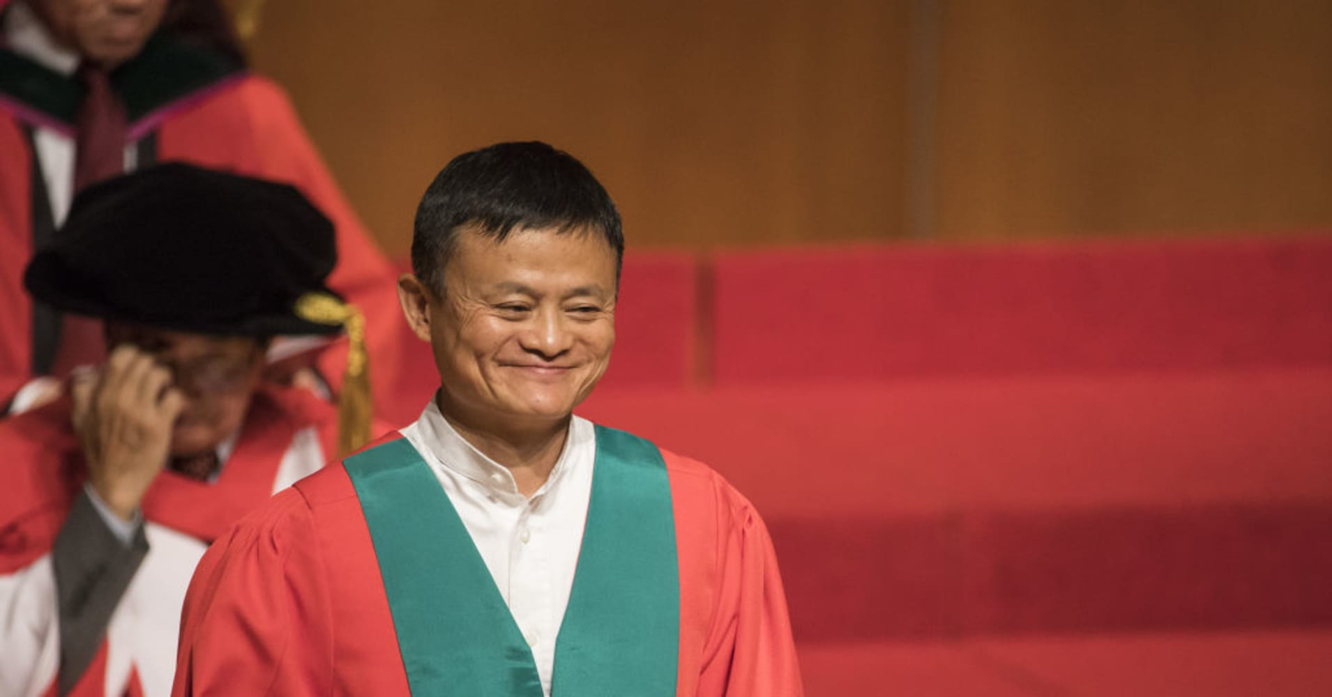 Jack Ma, executive chairman of Alibaba Group Holding Ltd., receives an honorary degree from the University of Hong Kong