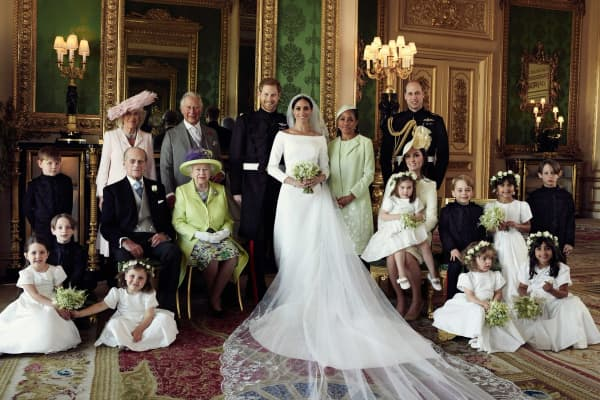 The official wedding family photo of the royal family from the wedding of Prince Harry and Duchess of Sussex, Meghan Markle.