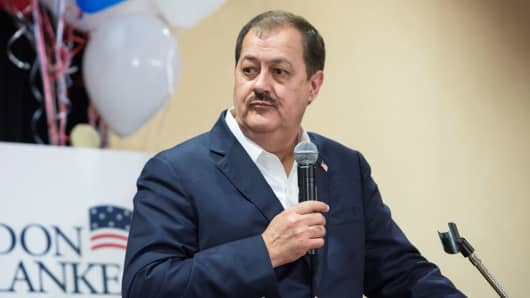U.S. Senate candidate Don Blankenship speaks to his supporters during the primary election in Charleston, West Virginia, May 8, 2018.