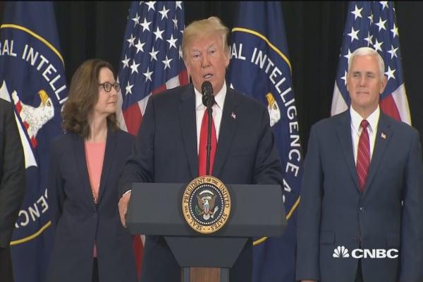 President Trump speaks at CIA director swearing-in
