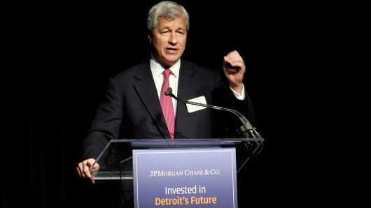 Jamie Dimon, chief executive officer of JPMorgan Chase & Co., speaks at the Garden Theater in Detroit, Michigan onMon May 21 2018.