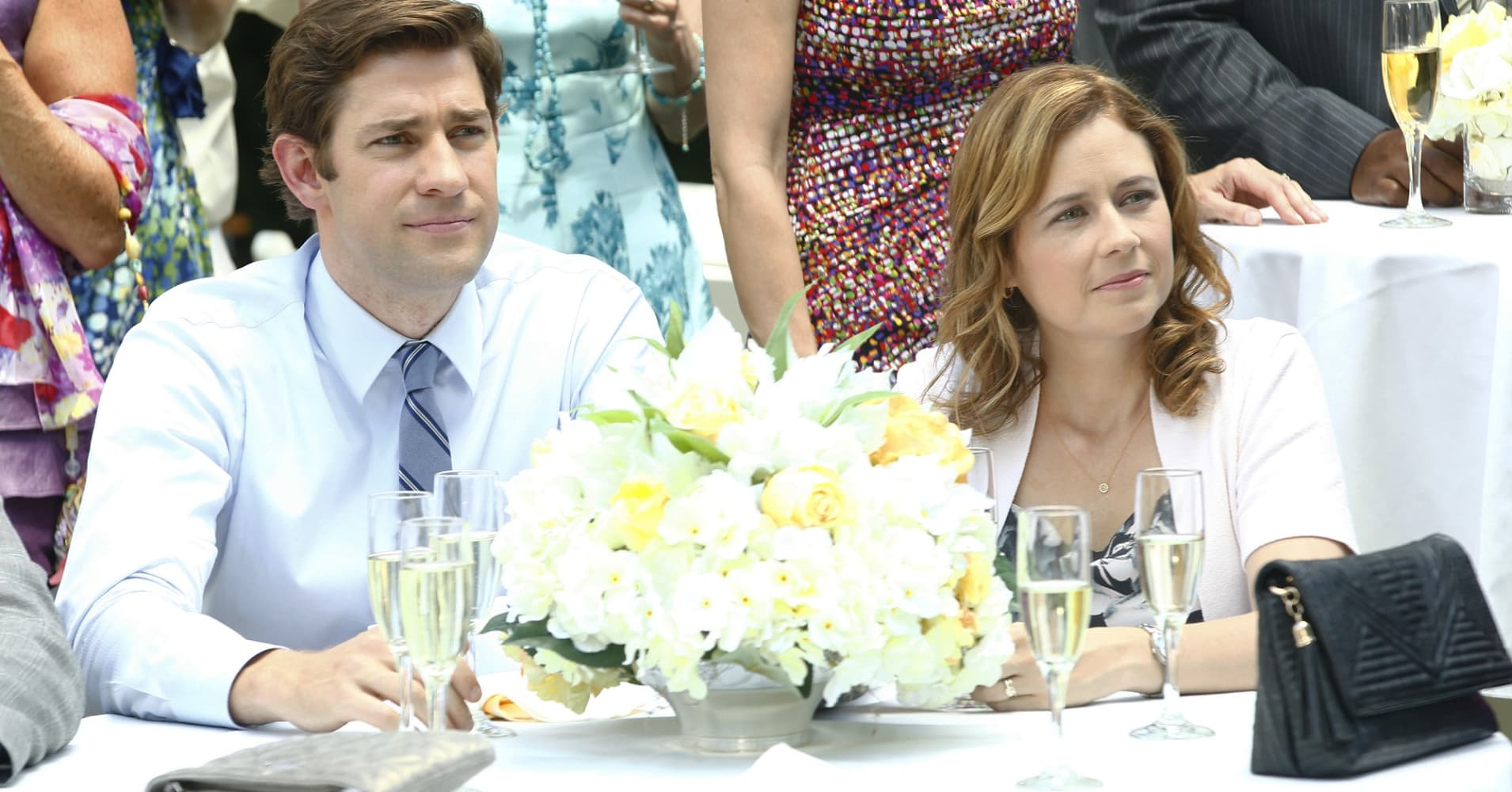 "John Krasinski as Jim Halpert and Jenna Fischer as Pam Halpert in NBC's ""The Office."""