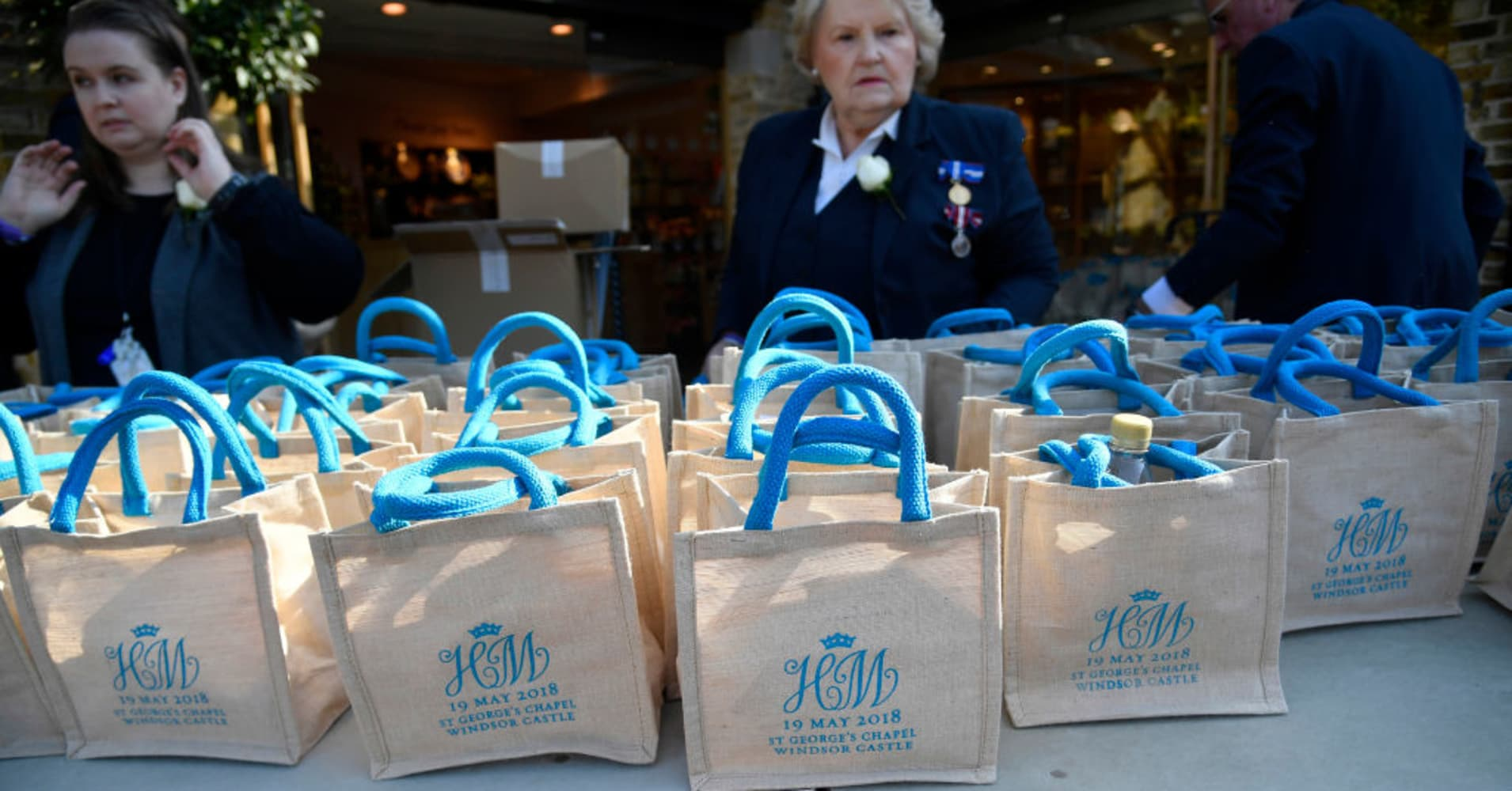 Monogrammed gift bags at Windsor Castle before the wedding of Prince Harry to Meghan Markle on May 19, 2018 in Windsor, England