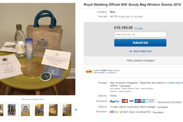 83bb129e5c2a A screenshot of an eBay listing of a royal wedding gift bag