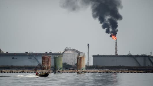 View of an oil refinery in the Maracaibo lake, on May 2, 2018 in Maracaibo, Venezuela.