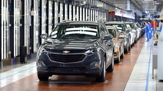 A Chevrolet Equinox SUV is seen on the production line at SAIC-GM Wuhan Manufacturing Plant on April 7, 2017 in Wuhan, China.