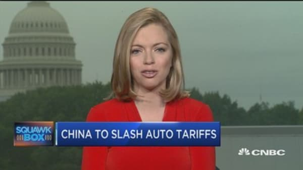 China to cut import tariffs on autos