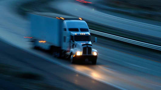 A truck travels the Interstate 10 freeway on January 17, 2010 near of Indio, California.