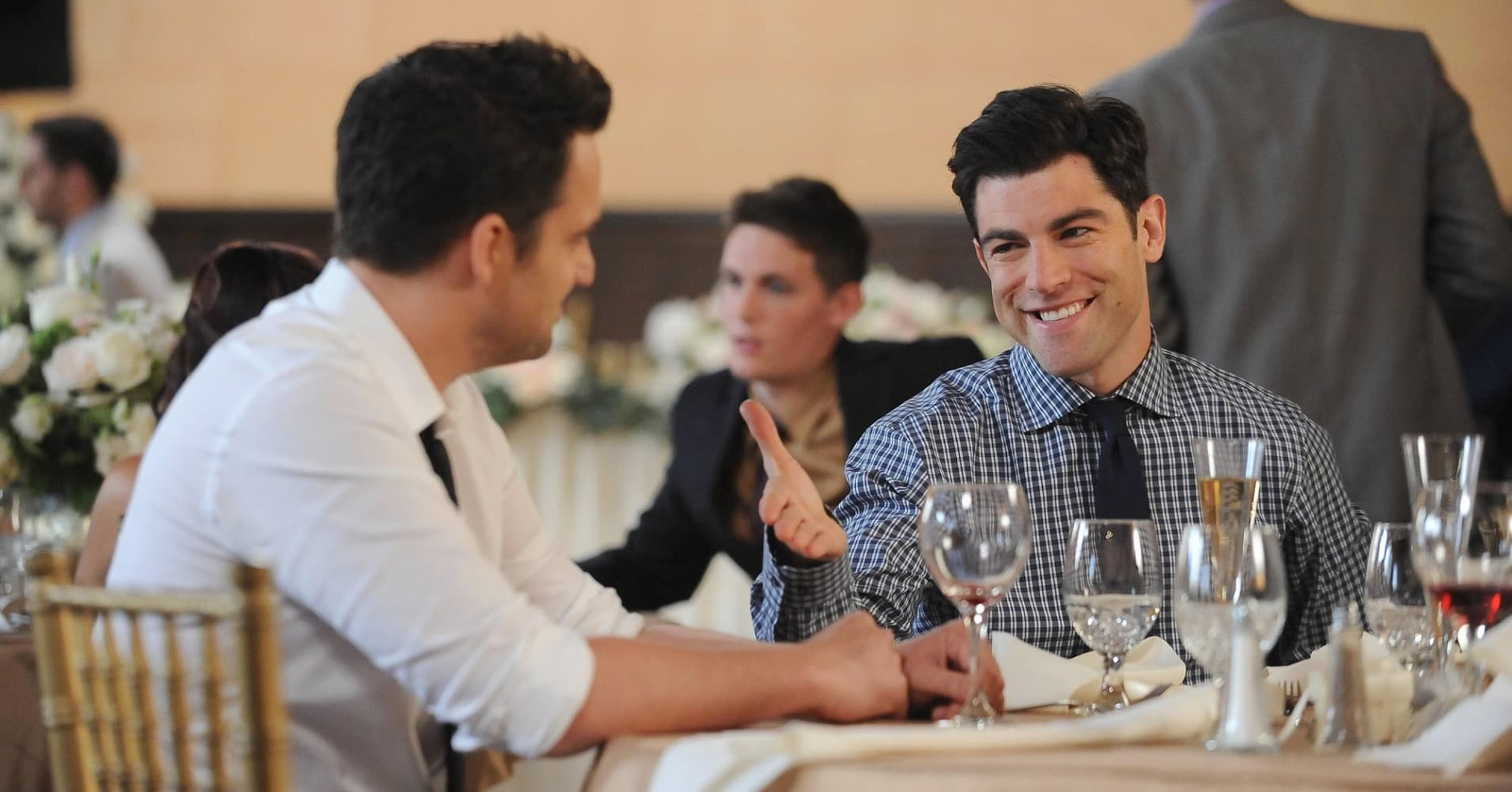"Jake Johnson and Max Greenfield (R) in the 'The Last Wedding' season premiere episode of ""New Girl"" on Fox."
