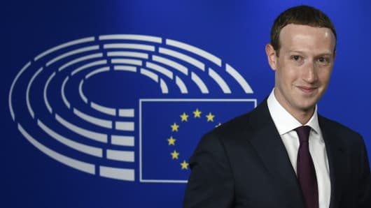 Facebook CEO Mark Zuckerberg arrives at the European Parliament on May 22, 2018.
