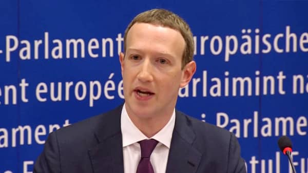 Facebook's CEO Mark Zuckerberg answers questions about the improper use of millions of users' data by a political consultancy, at the European Parliament in Brussels, Belgium, in this still image taken from Reuters TV May 22, 2018