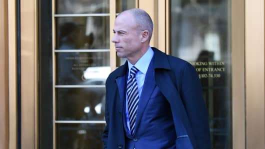 Attorney for Stormy Daniels, Michael Avenatti walks outside after US President Donald Trump's personal lawyer Michael Cohen left the US Courthouse in New York on April 26, 2018.