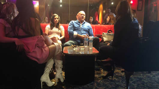 Owner Dennis Hof and legal sex workers at the Moonlight BunnyRanch, Carson City, NV.