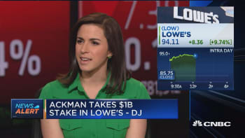 Bill Ackman takes $1B stake in Lowes: Dow Jones