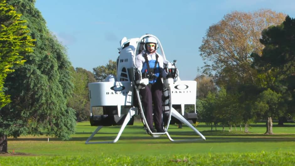 Professional golfer Bubba Watson shows off his Golf Cart Jetpack