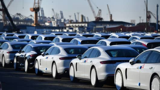 Porsche cars destined for export stand at Bremerhaven port on March 19, 2018 in Bremerhaven, Germany.