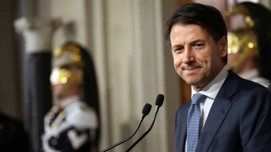 Giuseppe Conte delivers a declaration after a meeting with Italian President Sergio Mattarella as part of consultations for a new government at the Quirinale Palace on May 23, 2018 in Rome, Italy.